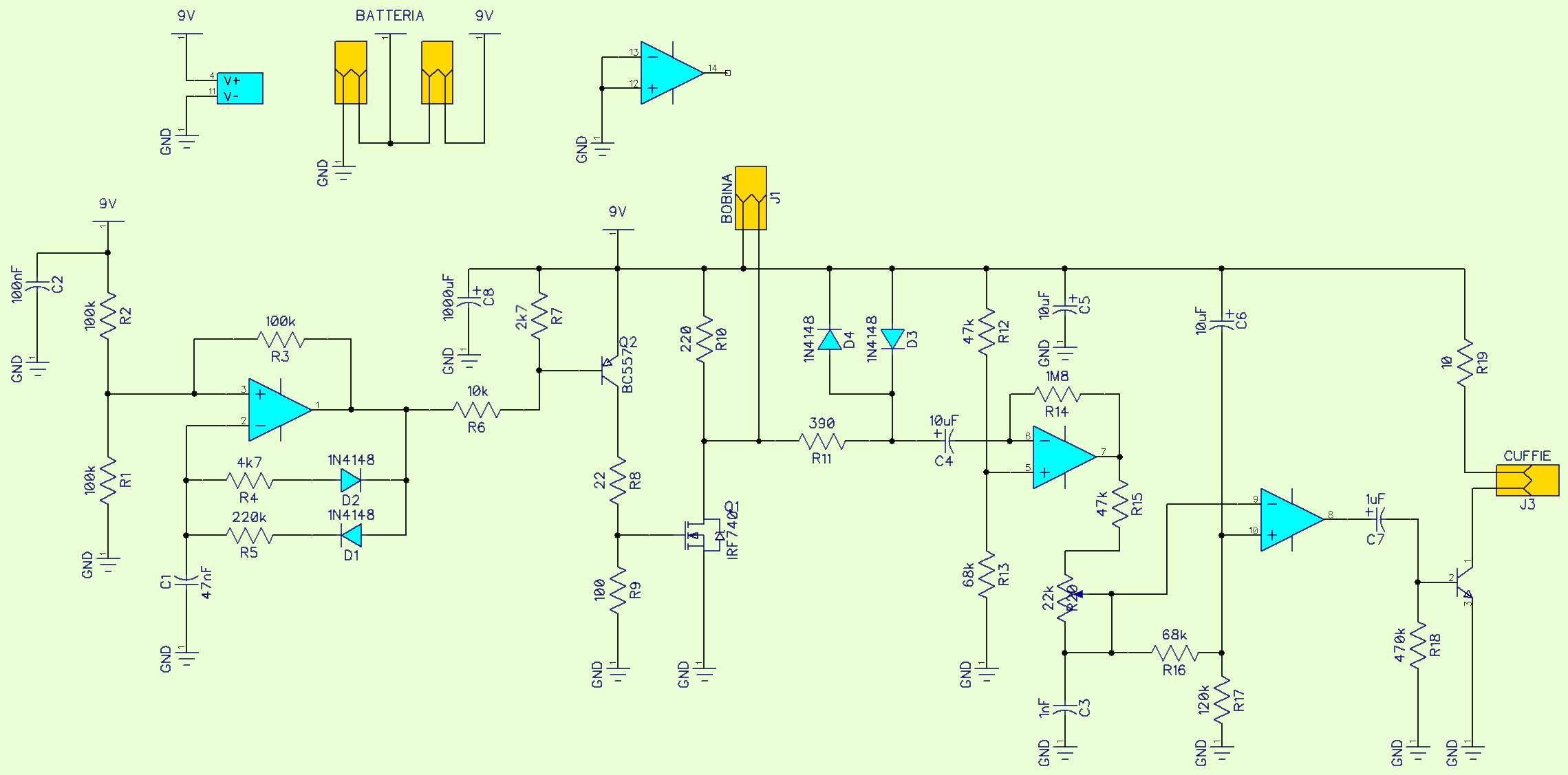 metal simple and powerful detector \u2013 elettroamiciclicking in the diagram expands and it is possible to read all the components with the exception of the operational amps lm324 clearly specified in the