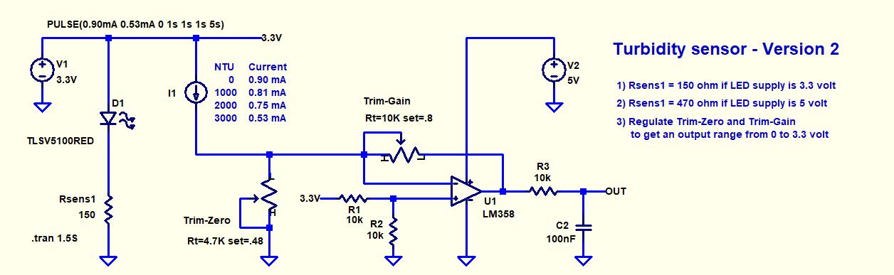 Sensore di torbidità dell'acqua semplificato - Versione 2